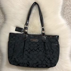 Coach Signature Bag Black Blue Satin